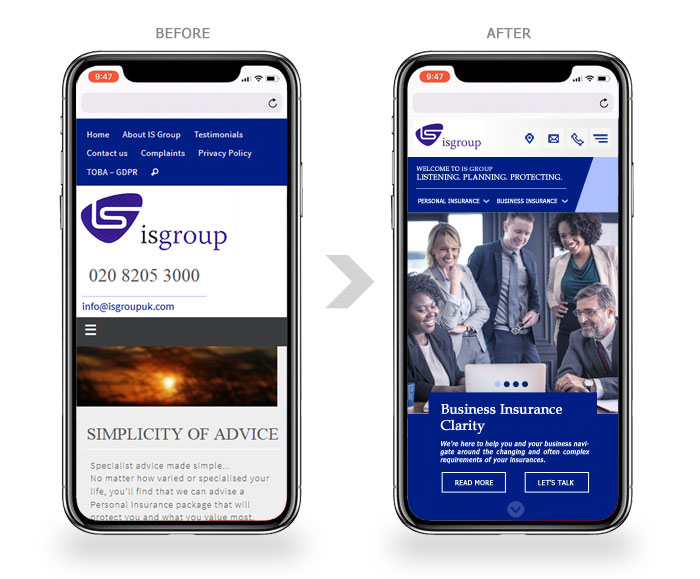 mobile website for insurance